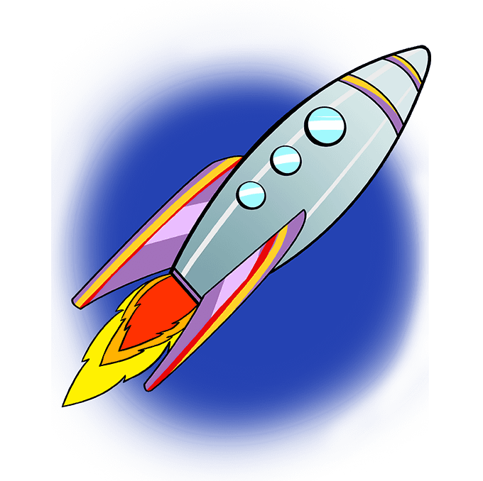How to Draw a Rocket Ship Step 10