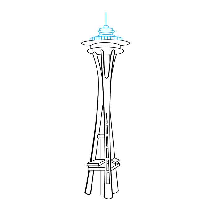 How to Draw the Space Needle Step 09