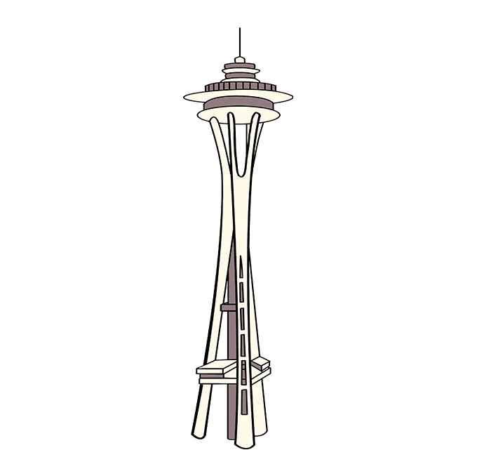 How to Draw the Space Needle Step 10