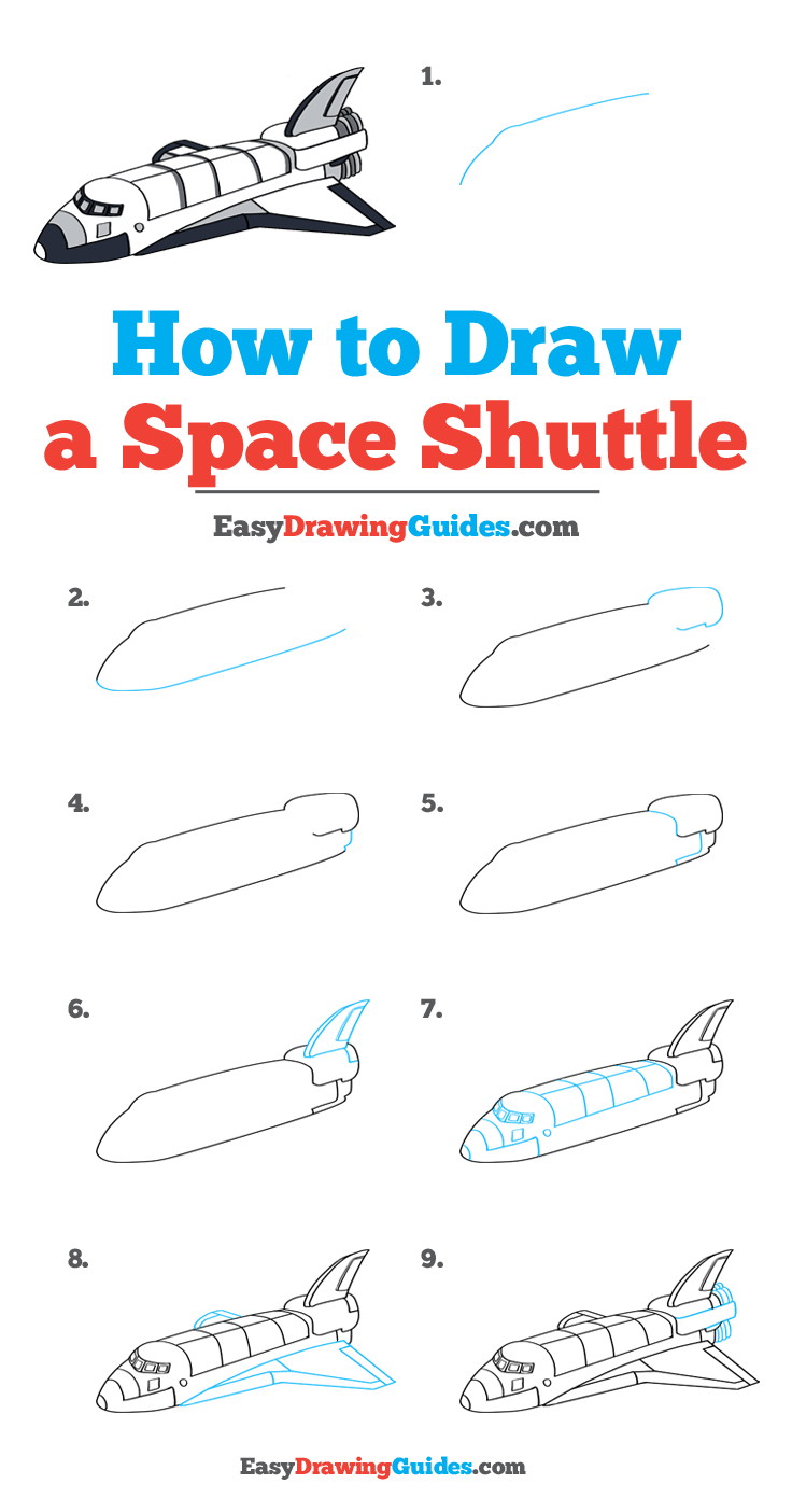 How to Draw a Space Shuttle Step by Step Image Tutorial
