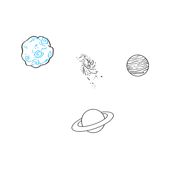 How to Draw Space and Planets Step 08