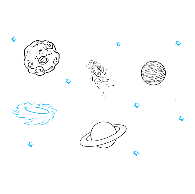 How to Draw Space and Planets Step 09