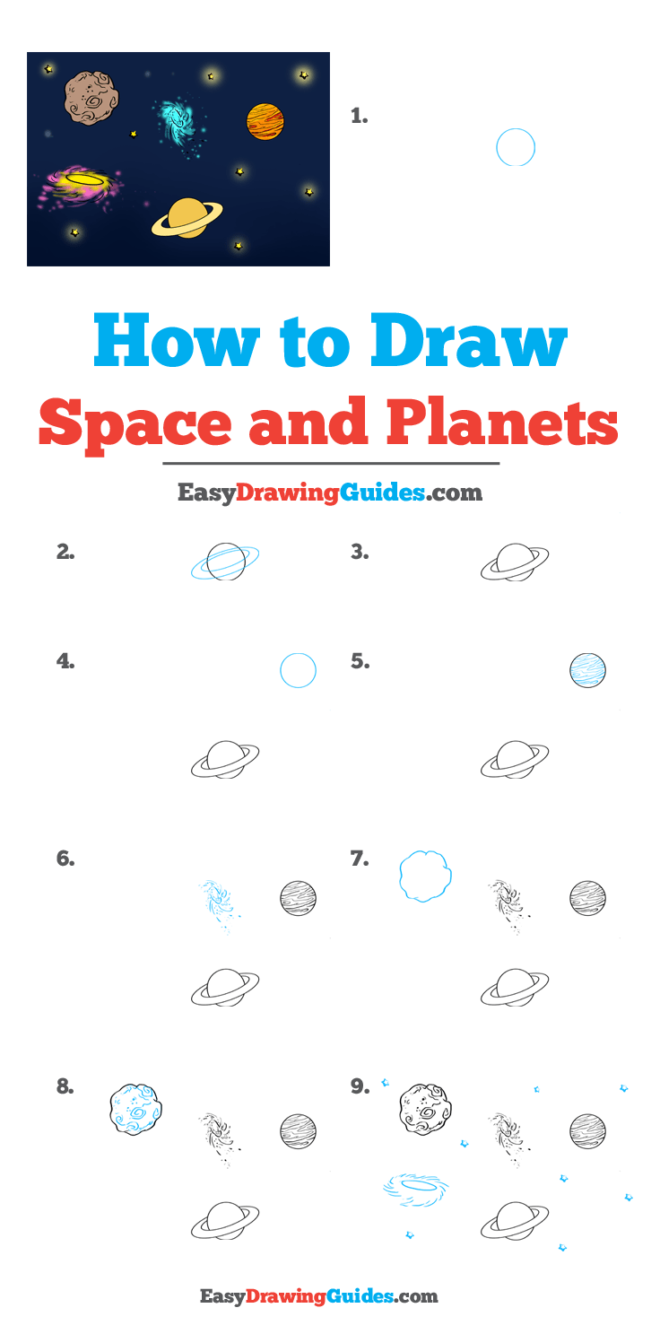 How to Draw Space and Planets Step by Step Tutorial Image