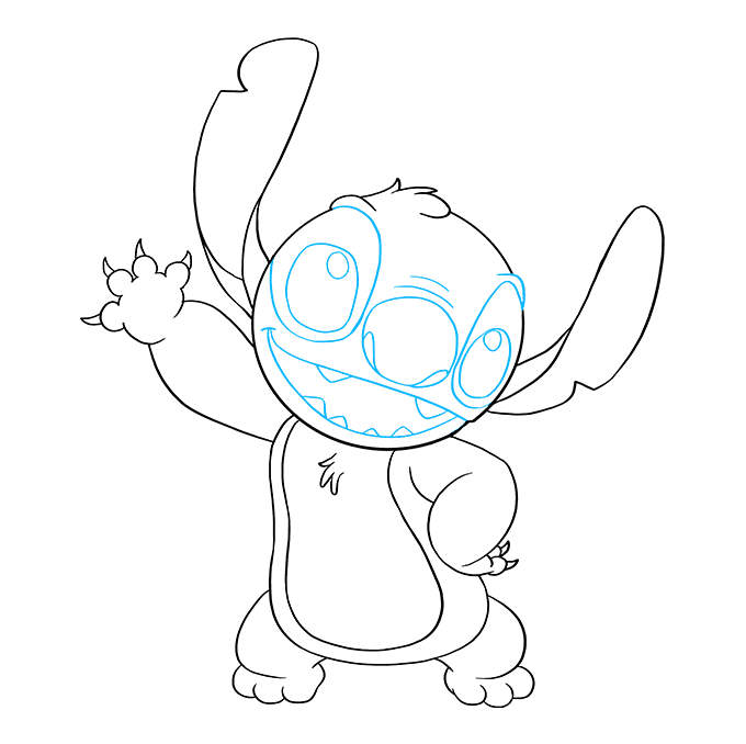 How to Draw Stitch from Lilo and Stitch: Step 9