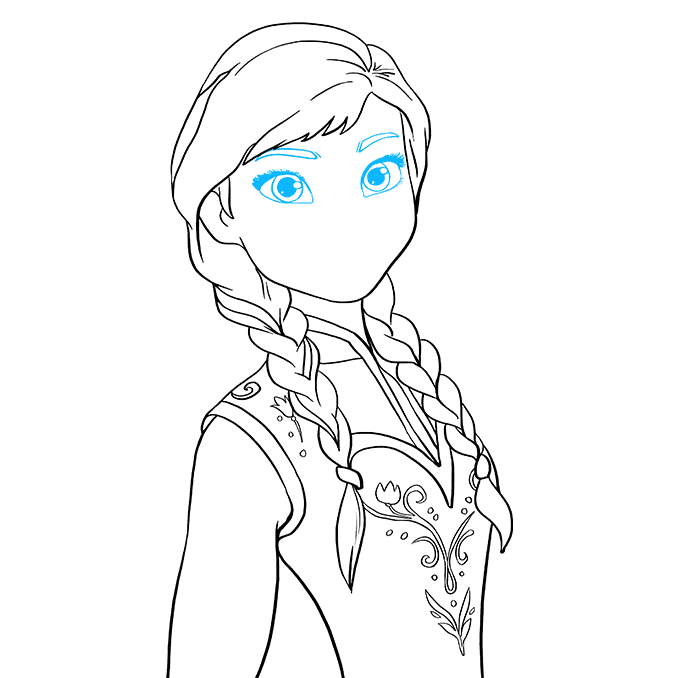 How to Draw Anna from Frozen: Step 8