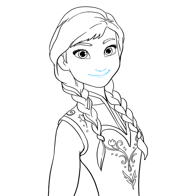 How to Draw Anna from Frozen: Step 9