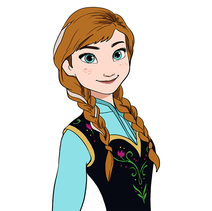 How to Draw Anna from Frozen: Step 10