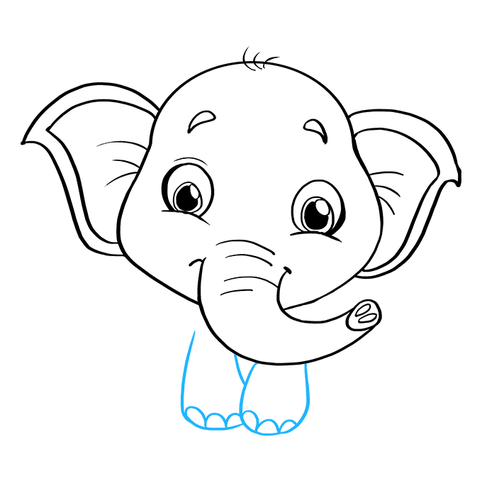 How to Draw Baby Elephant: Step 7