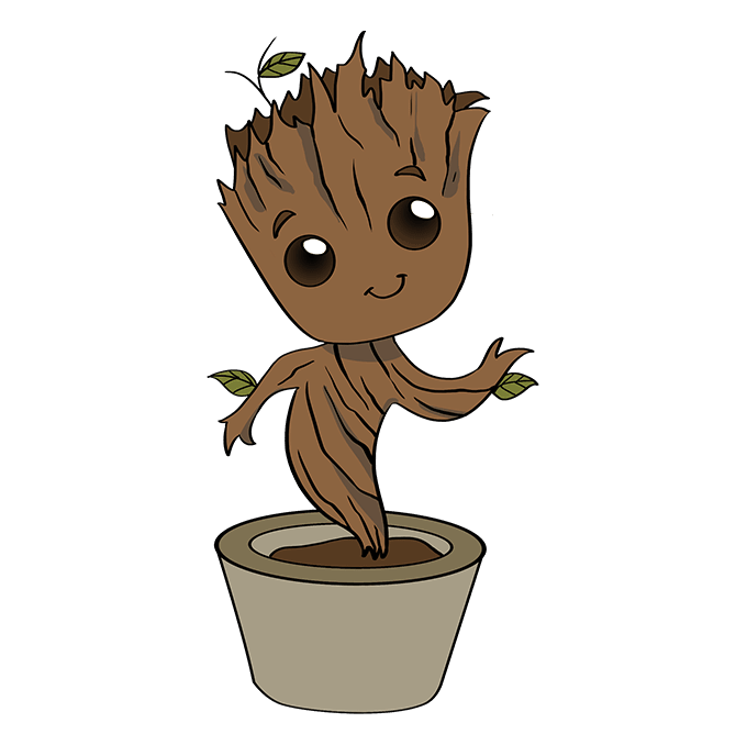 How to Draw Baby Groot: Step 10