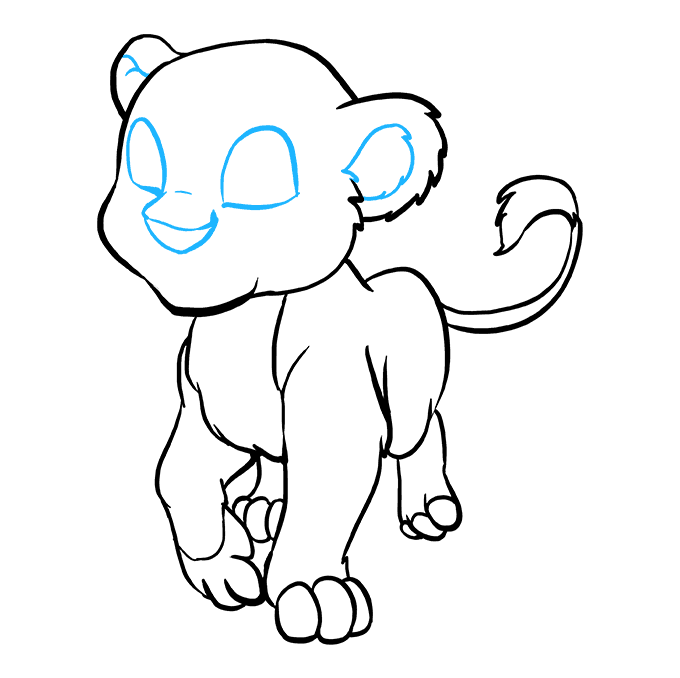 How to Draw Baby Lion: Step 8