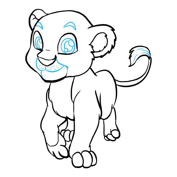 How to Draw Baby Lion: Step 9