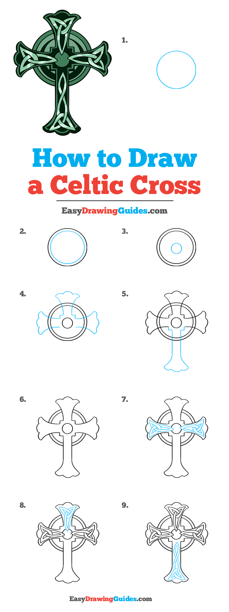 How to Draw a Celtic Cross Step by Step Tutorial Image
