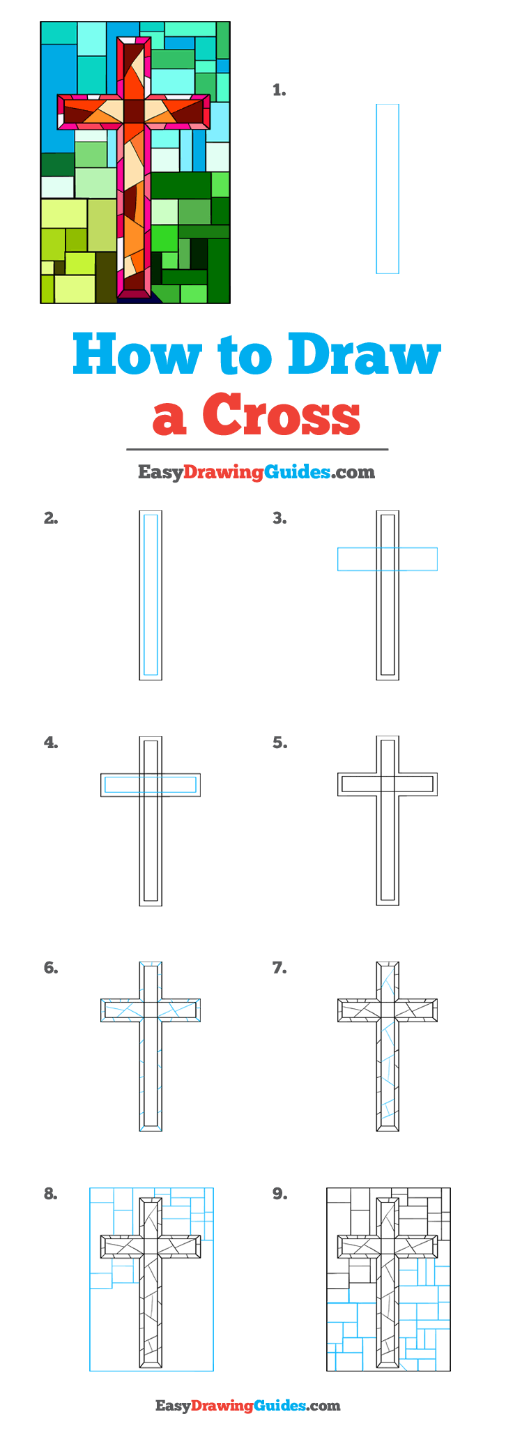 How to Draw a Cross Step by Step Tutorial Image