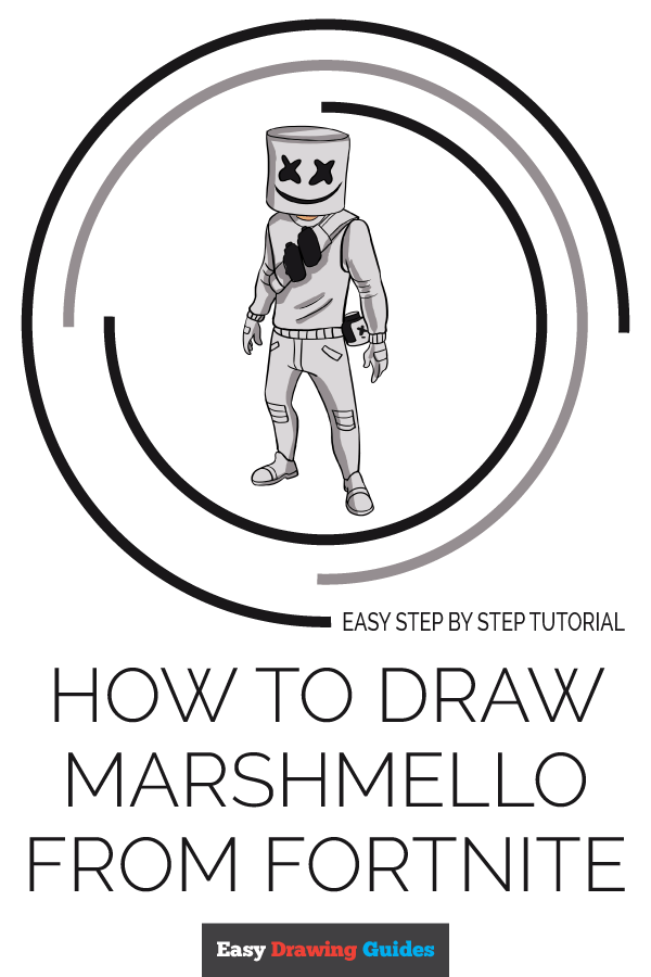 How to Draw Marshmello from Fortnite | Share to Pinterest
