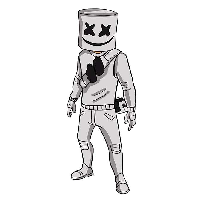 How to Draw Marshmello from Fortnite: Step 10
