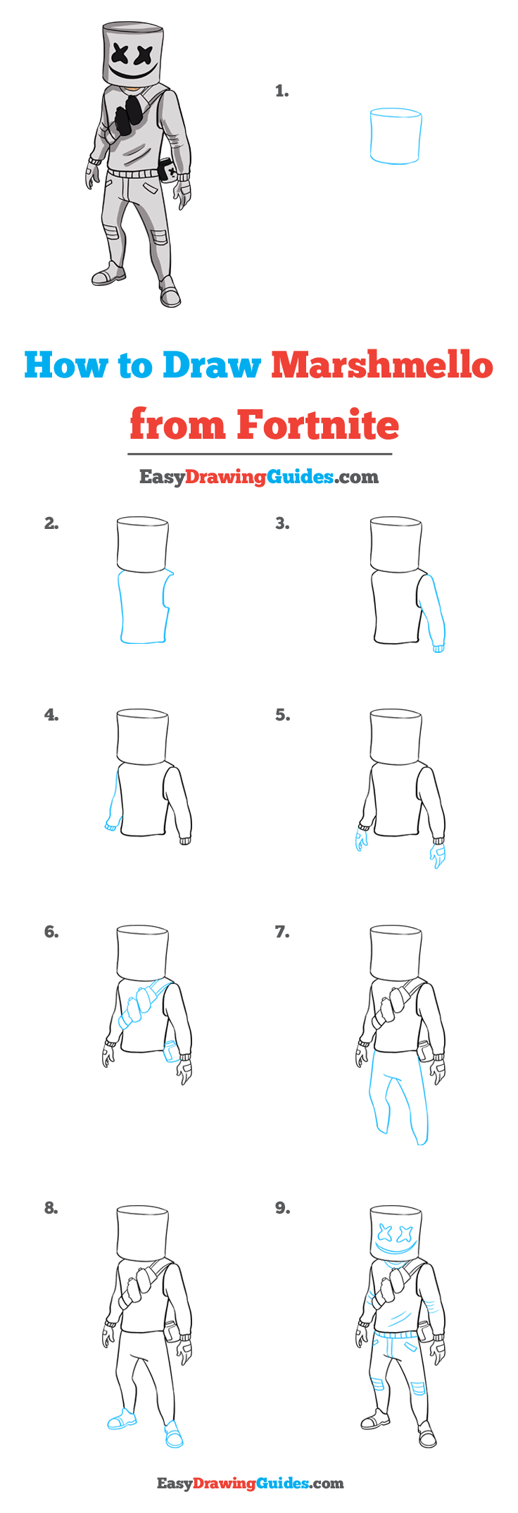 How to Draw Marshmello from Fortnite