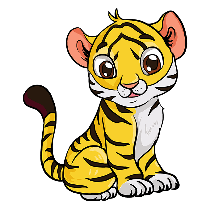 How to Draw Baby Tiger: Step 10