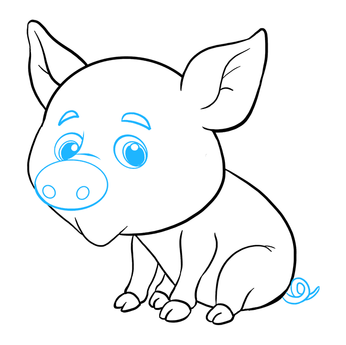 How to Draw a Baby Pig Step 08