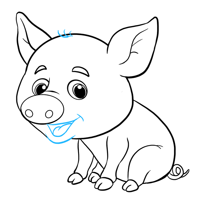 How to Draw a Baby Pig Step 09