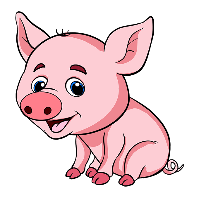 How to Draw a Baby Pig Step 10