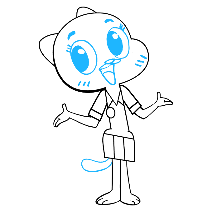 How to Draw Nicole Watterson from the Amazing World of Gumball Step 09