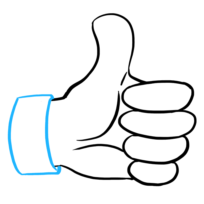 How to Draw a Thumbs up Sign Step 08
