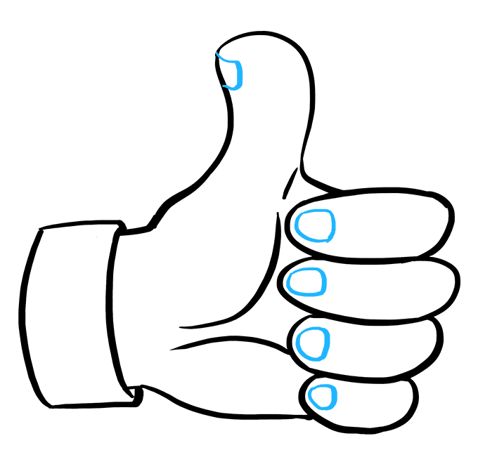 How to Draw a Thumbs up Sign Step 09