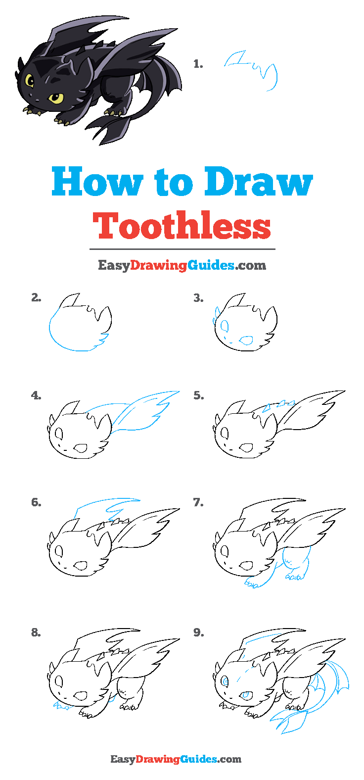 How to Draw Toothless from How to Train your Dragon Step by Step Tutorial Image