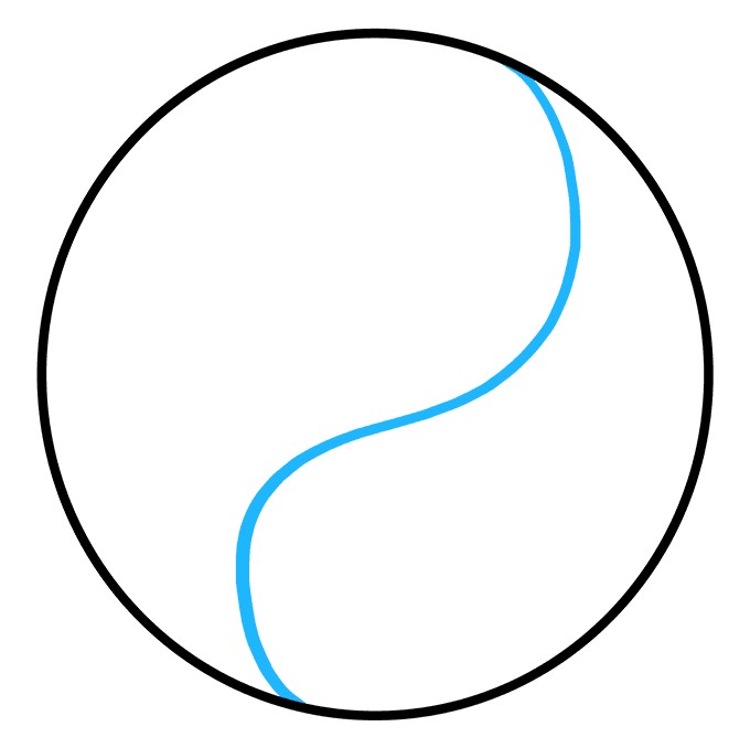 How to Draw Yin Yang Symbol: Step 2