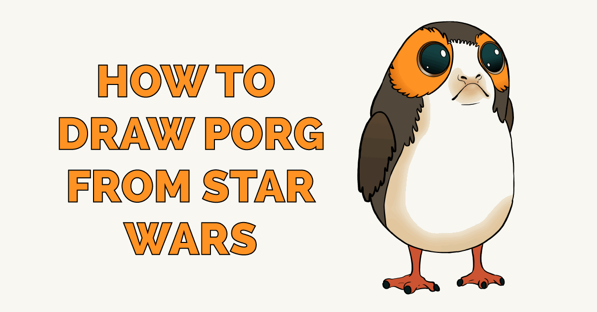 how to draw porg from star wars really easy drawing tutorial how to draw porg from star wars