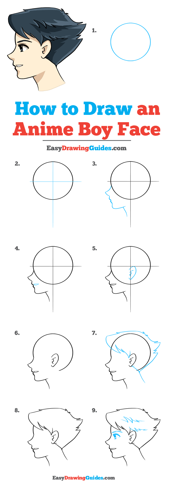 How to Draw Anime Boy Face