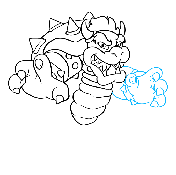 How to Draw Bowser from Super Mario Bros: Step 6