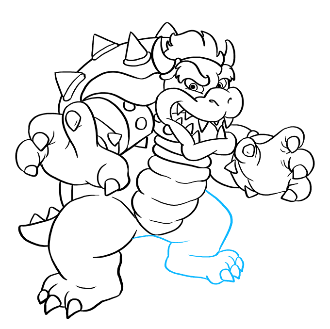 How to Draw Bowser from Super Mario Bros: Step 9