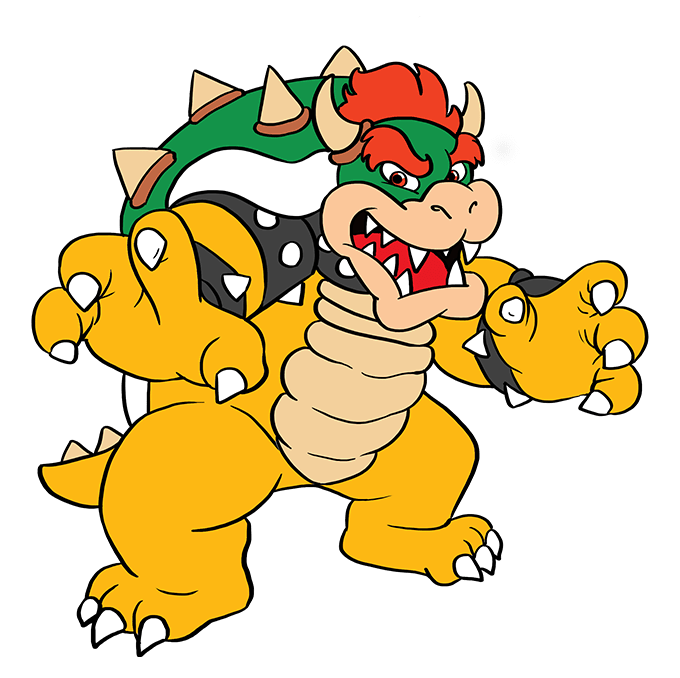 How to Draw Bowser from Super Mario Bros: Step 10