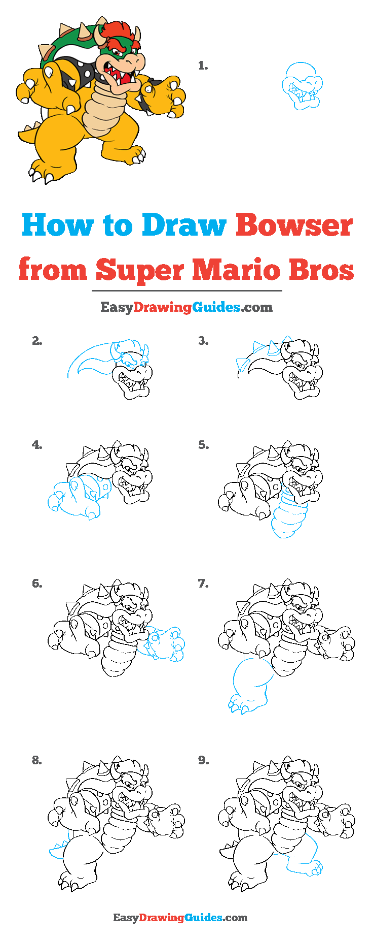 How to Draw Bowser from Super Mario Bros