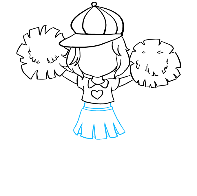 How to Draw Cheerleader: Step 4