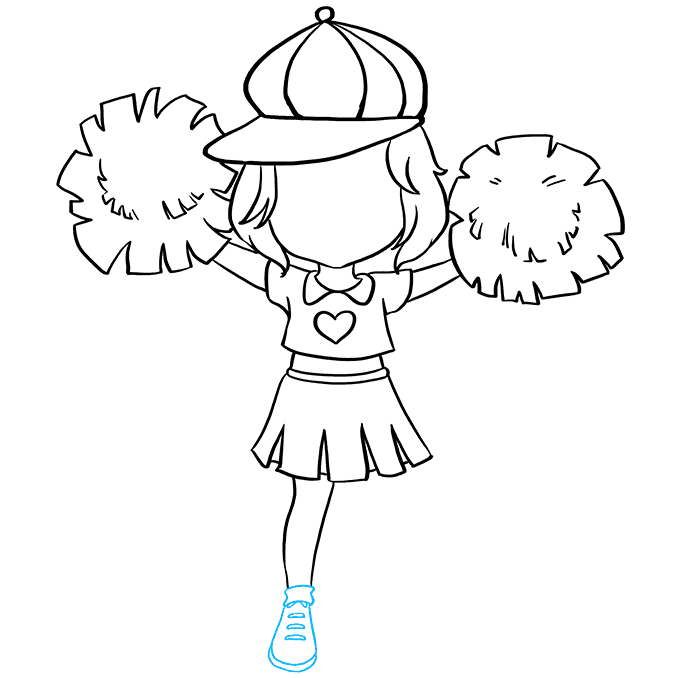 How to Draw Cheerleader: Step 6
