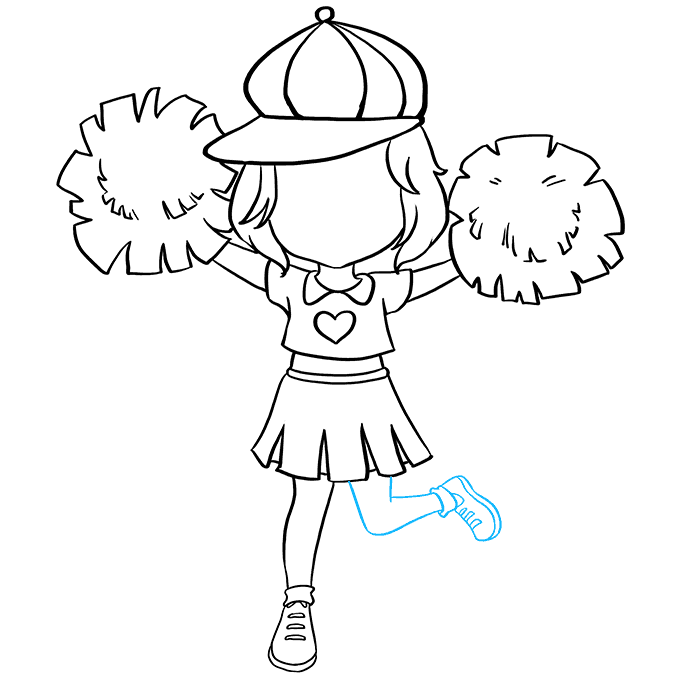 How to Draw Cheerleader: Step 7