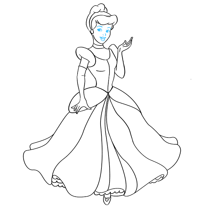 How to Draw Cinderella: Step 9