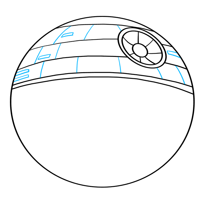 How to Draw Death Star from Star Wars: Step 6