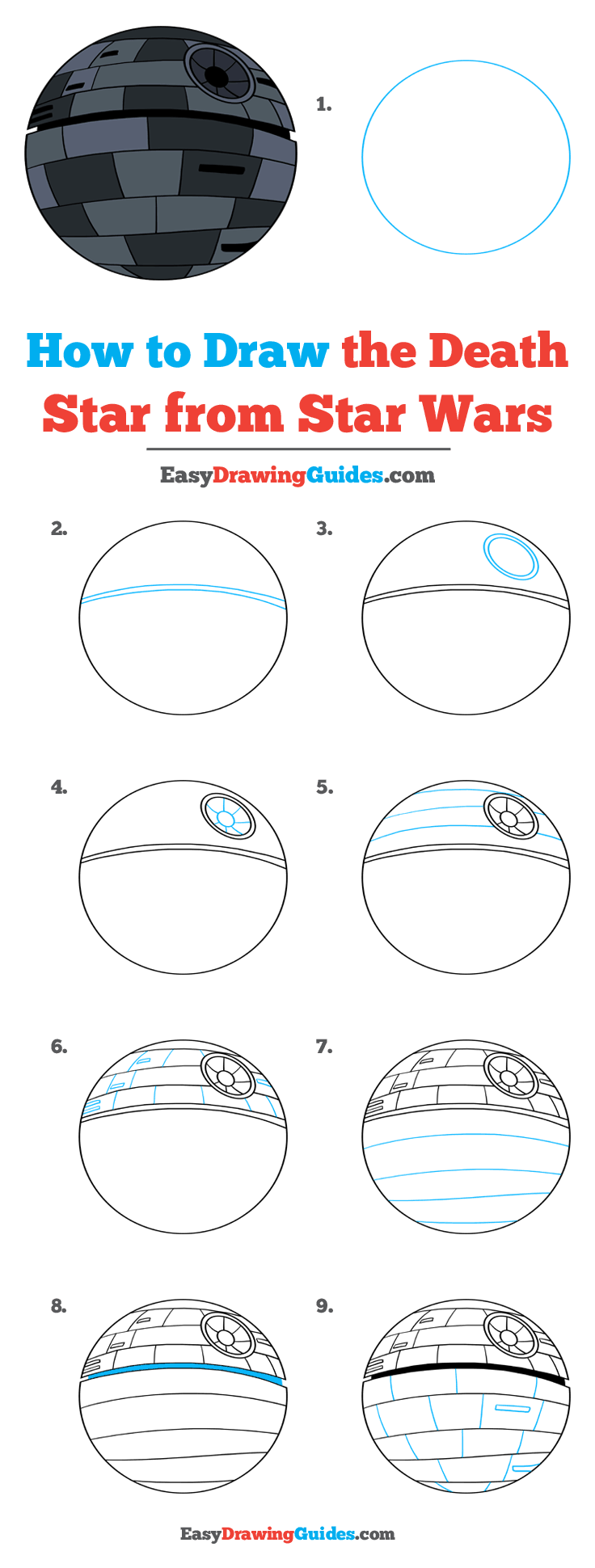 How to Draw Death Star from Star Wars