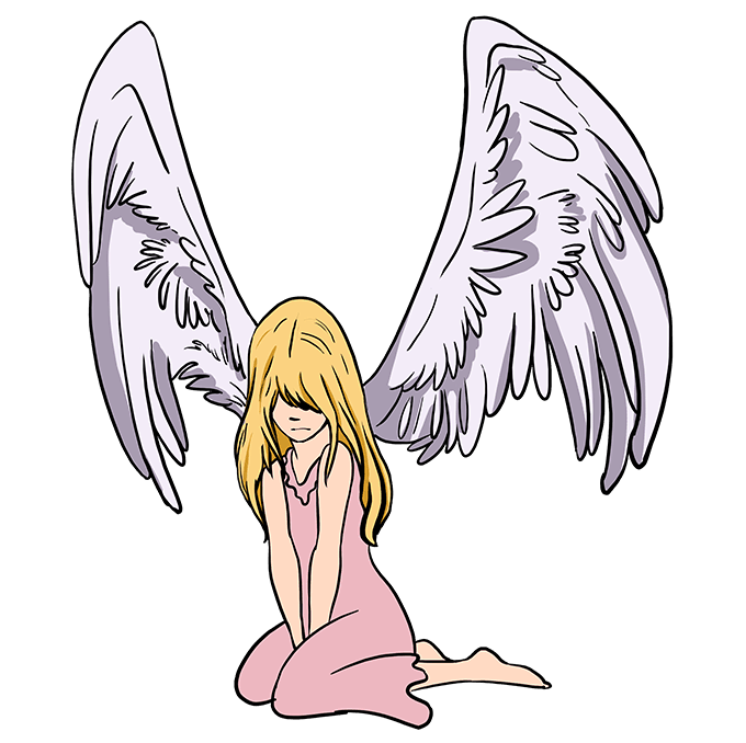 How to Draw a Fallen Angel Step 10