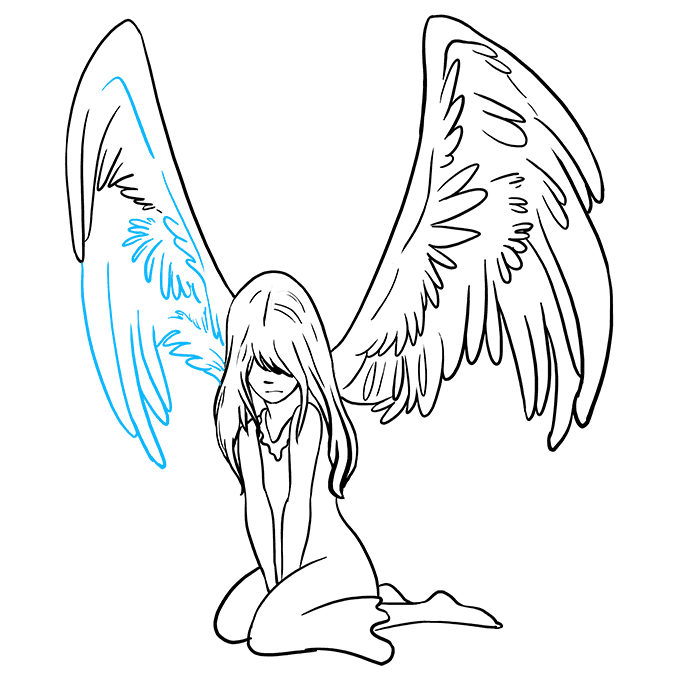 How to Draw a Fallen Angel Step 9