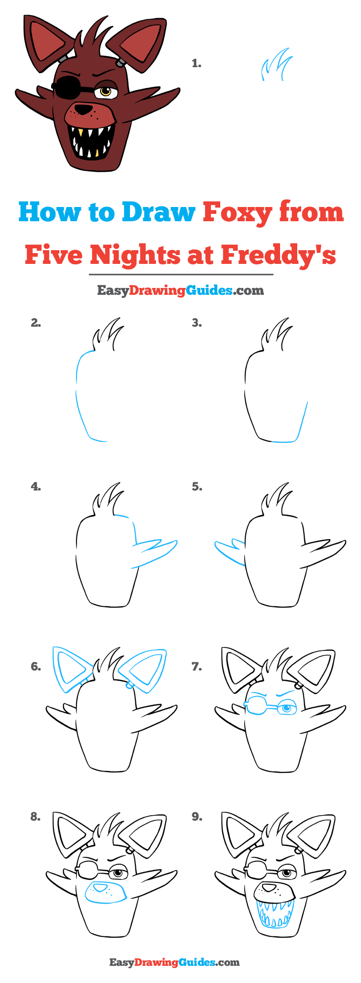 How to Draw Foxy from Five Days at Freddy's