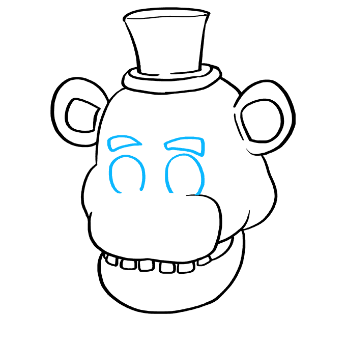 How to Draw Freddy Fazbear at Five Nights at Freddy's: Step 6