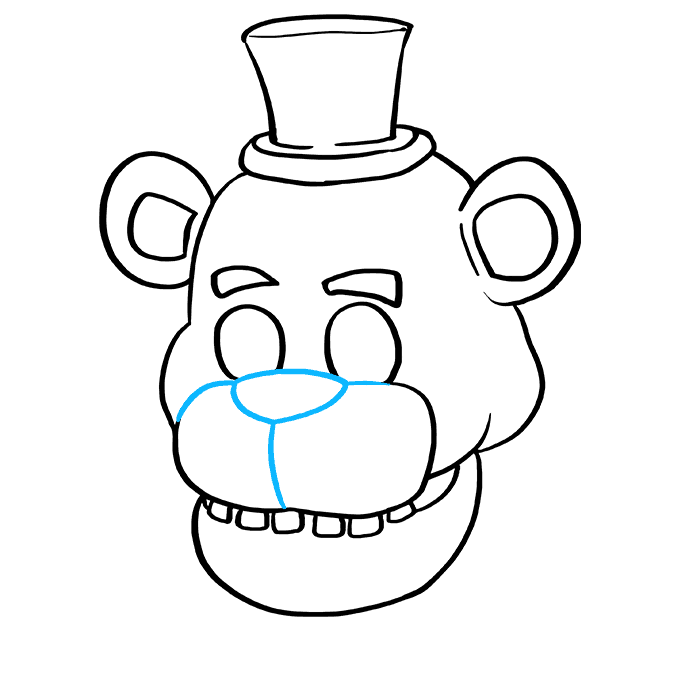 How to Draw Freddy Fazbear at Five Nights at Freddy's: Step 7