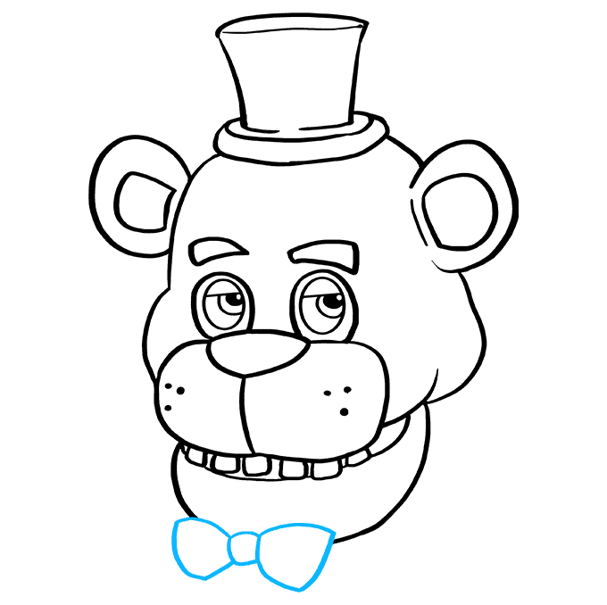 How to Draw Freddy Fazbear at Five Nights at Freddy's: Step 9