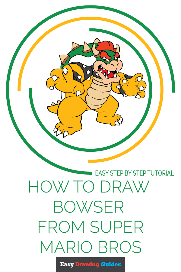 How to Draw Bowser from Super Mario Bros | Share to Pinterest