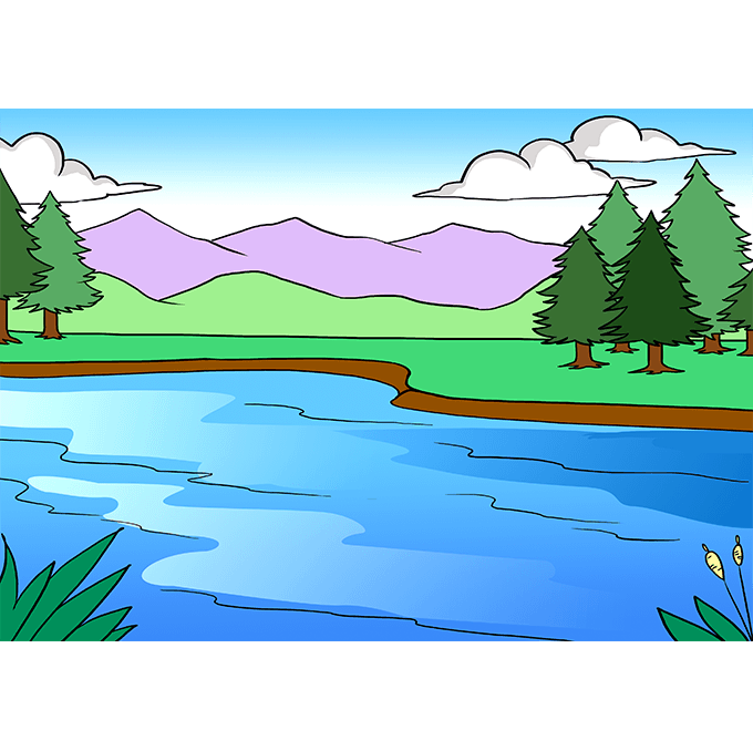 How to Draw Lake: Step 10