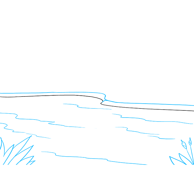 How to Draw Lake: Step 2